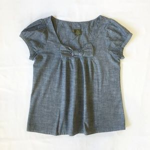Anthropologie Fei Caden Chambray Bow Top